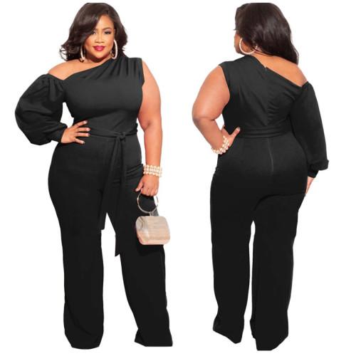 Plus Size Black One Shoulder Wide Leg Jumpsuit