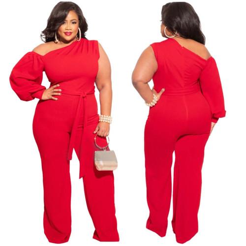 Plus Size Red One Shoulder Wide Leg Jumpsuit
