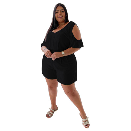 Plus Size Black Cold Shoulder Casual Loose Rompers