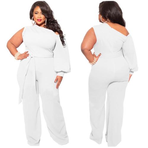 Plus Size White One Shoulder Wide Leg Jumpsuit