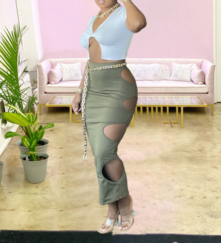 Army Green Sexy Hollow-Out Bodycon Long Skirt