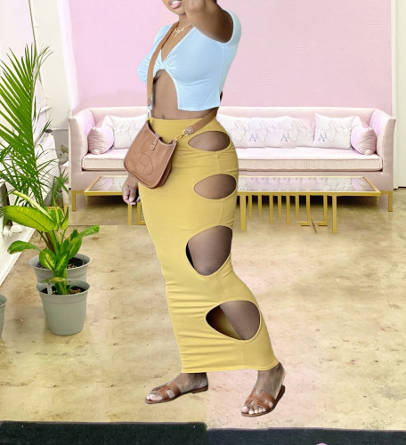 Yellow Sexy Hollow-Out Bodycon Long Skirt