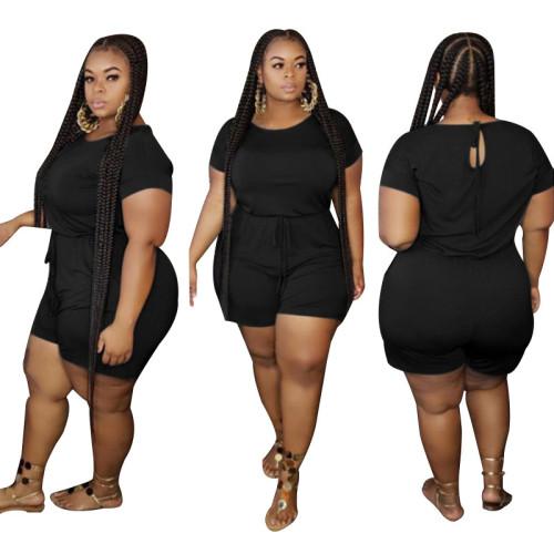 Plus Size Black Drawsting Casual Romper