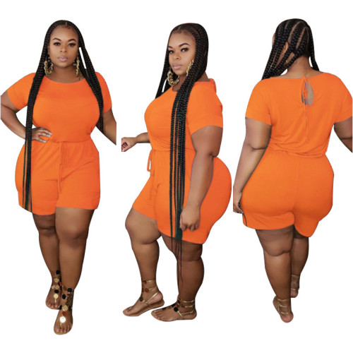 Plus Size Orange Drawsting Casual Romper
