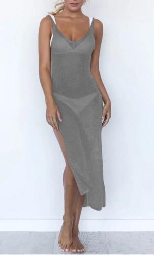 Side Slit Gray Low Back Sleeveless Cover Up Dress