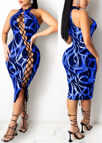 Print Blue Lace Up Halter Neck Sexy Midi Dress