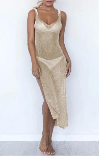 Side Slit Golden Low Back Sleeveless Cover Up Dress