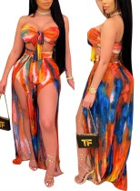 Tie Dye Bandeau Top and Slit Pants Matching Two Piece Set