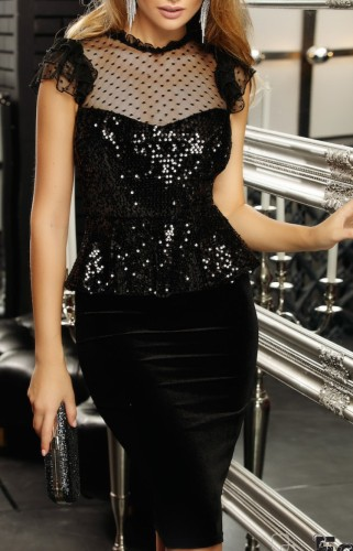 Black Sequin Mesh Patch Peplum Midi Dress