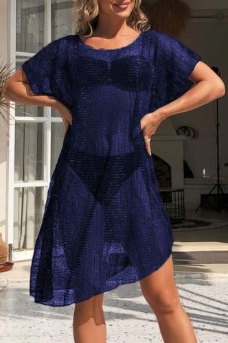 Blue Hollow Out Short Sleeve Beach Dress CoverUp