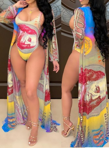 One Piece Dollar Print Swimsuit with Cover-Up