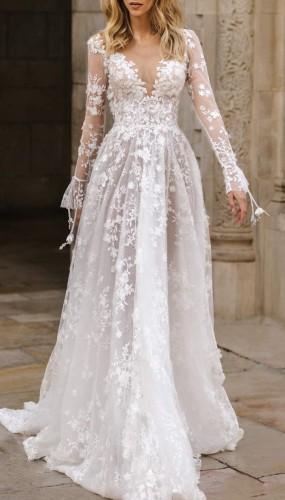 White Lace V-Neck Long Sleeve Backless Evening Dress