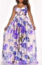Floral Purple See Through Patchwork Maxi Dress