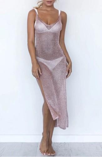 Side Slit Pink Low Back Sleeveless Cover Up Dress