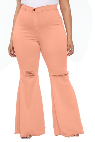 Light Pink High Waist Ripped Holes Bell Bottom Jeans