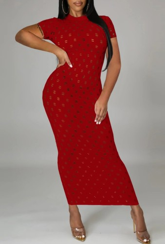 Red Hollow-Out Short Sleeve Long Curvy Dress