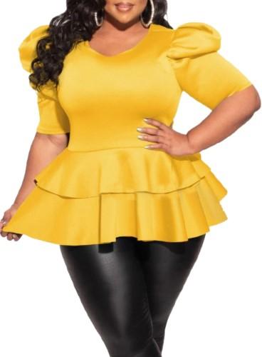 Plus Size Yellow Short Sleeve Peplum Top