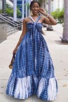 Blue Tie Dye High Waist Halter Maxi Dress