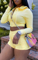 Yellow Long Sleeve Zip Cropped Hoodie and Shorts 2PCS Tracksuit