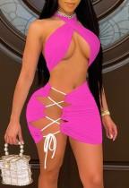 Hot Pink Halter Cross Neck Crop Top & Lace Up Mini Skirt 2PCS Set
