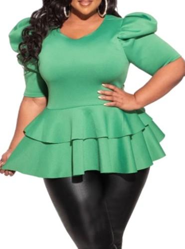 Plus Size Green Short Sleeve Peplum Top