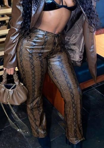 Snakeskin Sexy PU Leather Fashion Pants