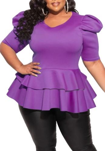 Plus Size Purple Short Sleeve Peplum Top