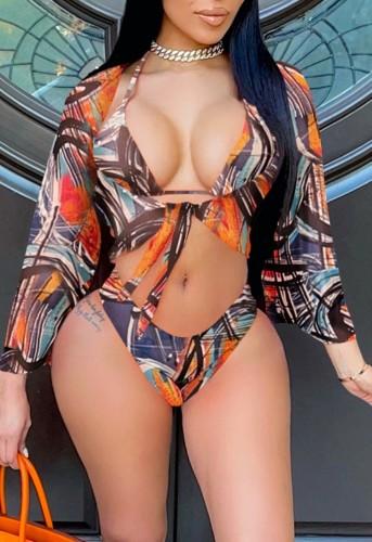 Print Bikini Set & Long Sleeve Cover Up 3PCS