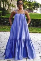 Blue Loose Casual Cami Maxi Dress