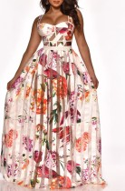 Floral Pink See Through Patchwork Maxi Dress