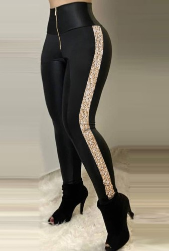 Black Side Sequin Zip Up High Waisted Trousers