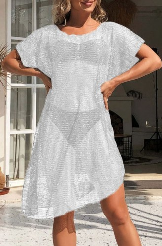White Hollow Out Short Sleeve Beach Dress CoverUp
