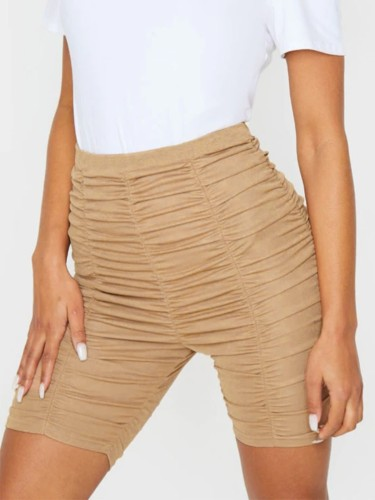 Khaki Ruched Fitted High Waisted Shorts