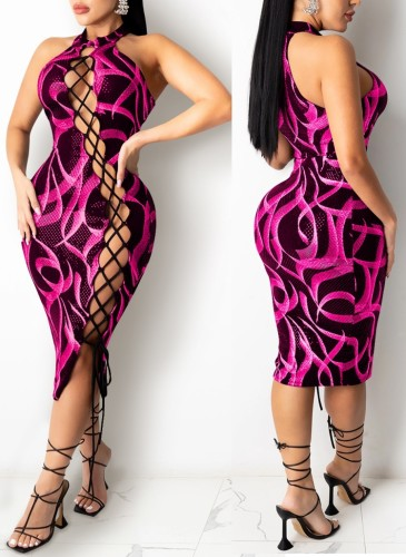 Print Hot Pink Lace Up Halter Neck Sexy Midi Dress