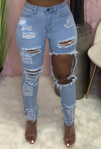 Blue Hollow Out Ripped Holes Tight Jeans