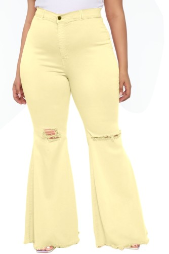 Yellow High Waist Ripped Holes Bell Bottom Jeans