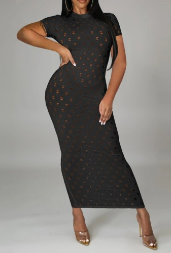 Black Hollow-Out Short Sleeve Long Curvy Dress