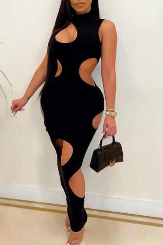 Black Hollow Out Sleeveless High Neck Sexy Midi Dress