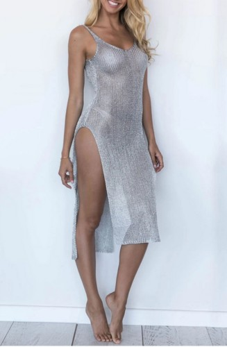 Side Slit Silver Low Back Sleeveless Cover Up Dress