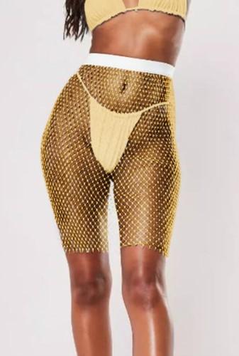 Rhinestone Yellow Fishnet High Waist Shorts Cover Up