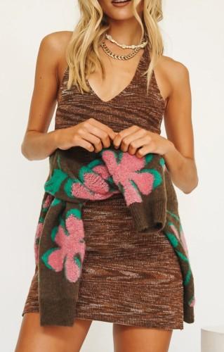 Halter Knitted Sexy Beach Mini Dress