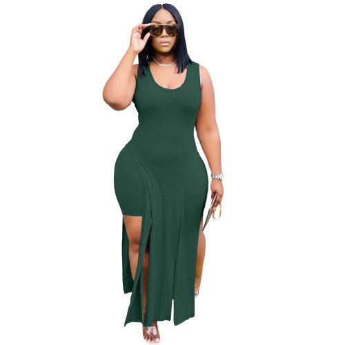 Army Green Slit Long Top and Pants Two Piece Set