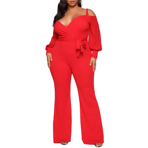 Plus Size Cold Shoulder Puff Sleeve Red Flare Jumpsuit