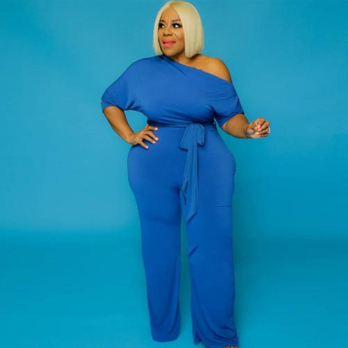 Plus Size Blue Half Sleeve Wide Leg Jumpsuit