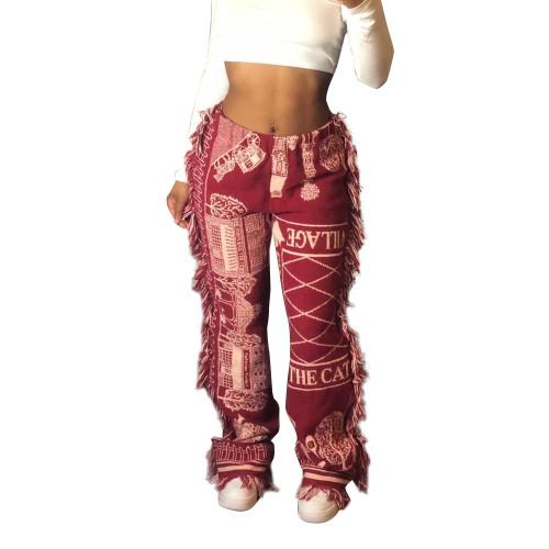 Print Tassel Casual Pants