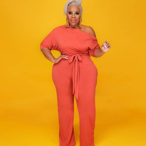 Plus Size Orange Half Sleeve Wide Leg Jumpsuit