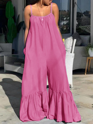 Plus Size Strap Loose Ruffle Solid Pink Jumpsuit