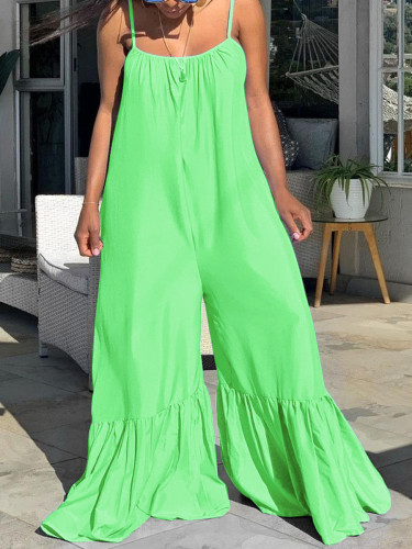 Plus Size Strap Loose Ruffle Solid Green Jumpsuit