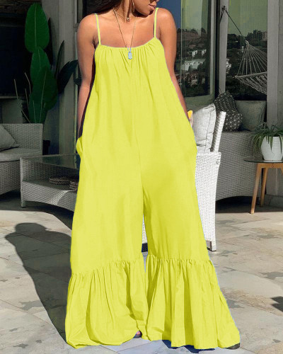 Plus Size Strap Loose Ruffle Solid Yellow Jumpsuit