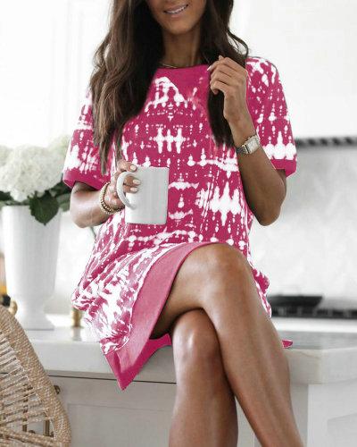 Pink Casual Round Neck Tie Dye T-Shirt Dress